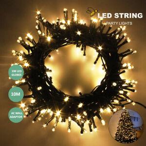 100 LED Christmas Xmas Light 10M String Fairy Lights Warm White AU Plug Wedding
