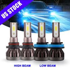 4x Mini 8000K Combo 9005 H11 Led Headlight Bulbs High Low Beam Kit 120W Fanless