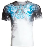 ARCHAIC by AFFLICTION Mens T-Shirt NIGHTWATCHER Skulls WHITE BLUE Biker $40