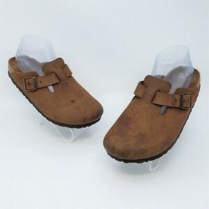 Birkenstock Boston Womens Brown Leather Buckle Slide Clog Mule Size 37 US L6
