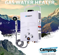 Portable Gas Hot Water Heater Shower Camping LPG 8L/min Battery 12V pump White