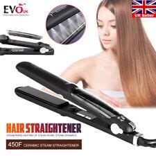 55W Steam Flat Iron Professional Ceramic Hair Straightener for Dry & Wet UK PLUG
