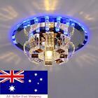 Modern LED Crystal Ceiling Blue Light Pendant Lamp Fixture Chandelier Home Decor