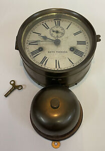 Antique Working Seth Thomas Brass Outside Bell Ship's Clock Ca. 1870-1880's