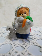 Enesco Lucy & Me Bear Figurine-Feeding the Rabbits a Carrott-1996