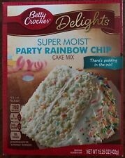 NEW BETTY CROCKER DELIGHTS SUPER MOIST PARTY RAINBOW CHIP CAKE MIX 15.25 OZ BOX