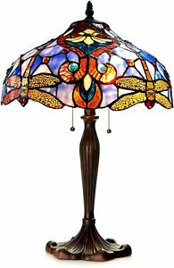 Tiffany Style Victorian 2 Light Table Lamp Gold Dragonfly Blue Stained Glass 24""
