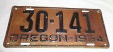 1934 Oregon Automobile License Plate -  Good Original Condition !