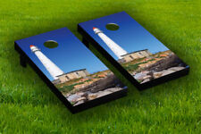 Lighthouse Cornhole Board Wraps Laminated Sticker Set Skin Decal