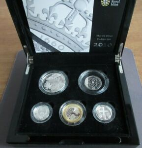 2010 UK Silver Proof Piedfort 5 Coin Celebration Set Royal Mint Boxed&COA