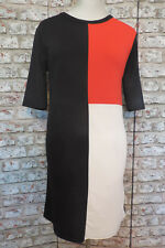 Boohoo BNWT Colour Block Black Red Cream Shift Dress, size 12