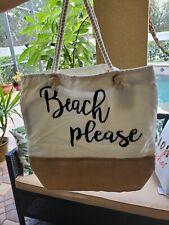 Beach Please Canvas Summer Beach Tote Bag Purse, Rope Handle