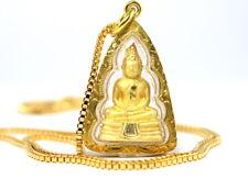 "THAI BUDDHA SOTHORN AMULET + 22"" CHAIN 22K 24K Gold GP Pendant Necklace GT38"