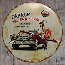 Metal Tin Sign garage full service decor Bar Pub Retro Poster 30cm diameter