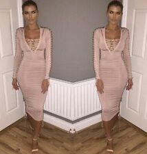 Oh Polly Midi Dress Size 6 8 Nude Pink Lace Up Side Sleeve Bodycon Night Party