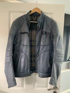 Belstaff Weybridge Leather Jacket Size L Racer Style Biker Jacket Ltd Edt Blue