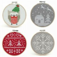 Counted Cross Stitch Kit with Hoop Beginner Level Christmas, Owl