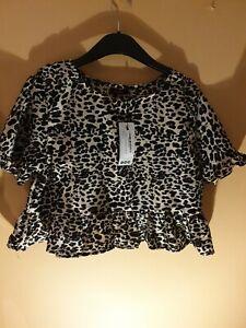 Ladies Leopard Print Ruffle Sleeve Smock Top Size 14 Boohoo Bnwt