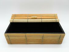 Flexible Woven Reed Roll Top Decorative Wood Storage Trinket Box Bamboo Handle