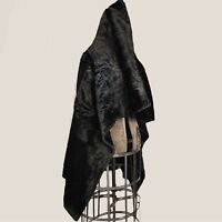 Antique 1800s Victorian black carraige sleigh fur blanket! This blanket is...