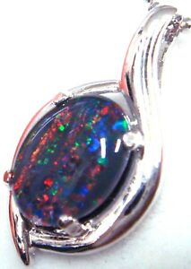 Birth Stone Natural Black Triplet Fire Opal Pendant Solid Silver Set