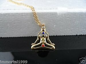 Pendentif Bouddha 7 Chakras couleur Or jaune taille: 38mm * 34mm