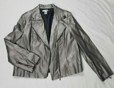 WD-NY Sz. XL Silver Faux Leather Moto Zip up Jacket W/Silver Accents and Zippers
