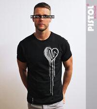 Pistol Boutique mens Black Crew neck DRIBBLE SKETCH HEART Tshirt SALE Large