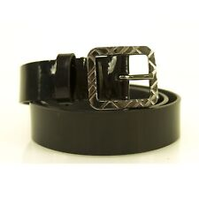 Burberry Women's Black Patent Leather Square Buckle Nova Check Belt sz 36 / 90