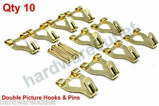 10 Brass Plated Double PICTURE HOOKS With Hardened Pins B6202 Framing Hardware