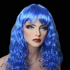 """18"""" Long Royal Blue Synthetic Curly Wavy Hair Wig for Cosplay Party Fancy Dress"""