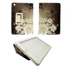 Marrón Funda con Blanco Estampado Floral Funda De Polipiel para Apple iPad Mini