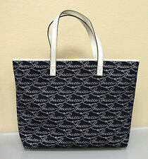 New GUCCI Canvas/Leather Tote BAG Handbag Large Navy/White s 257245 4171