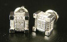 Ice Cube Block Mens/Ladies Diamond Stud Earrings 8 Mm