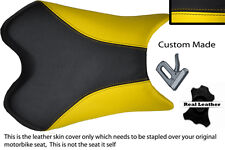 CUSTOM BLACK AND YELLOW 08-12 FITS YAMAHA 600 YZF R6 REAL LEATHER SEAT COVER