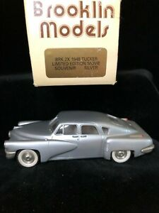 Boxed BROOKLIN #2A 1948 TUCKER Torpedo Silver Movie Souvenir Diecast Model 1/43