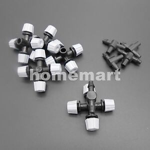 10PCS 4MM greenhouse micro head misting cross atomizing nozzle 4-outlets Garden