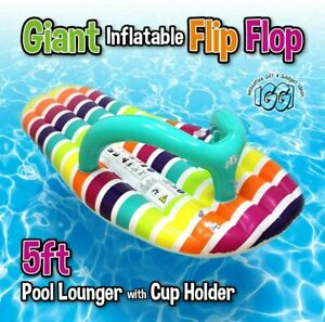 LARGE INFLATABLE FLIP FLOP Giant Swimming Pool Sun Beach Lilo Lounger Air Bed UK