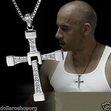Collana con pendente Ciondolo CROCE STRASS SILVER UOMO Moda Toretto Fast Furious
