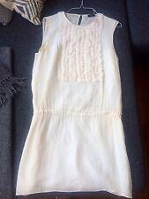 Zartes Designer mini Kleid von JOSEPH London Gr: 36 38 creme beige 100% Seide