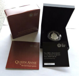 2014 Royal Mint Silver Proof Piedfort £5 Death Of Queen Anne Cased W/COA/Outer