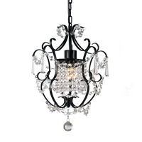 Gorgeous ZARA Matt Black Crystal Chandelier Wrought Iron Provincial Style 1 Arm