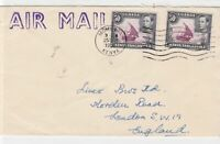 Uganda Kenya Tanganika 1952 mombasa cancel air mail stamps cover ref 21474