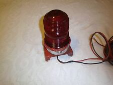 Vintage industrial red glass warning signal glass light fixture with socket
