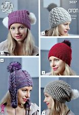 KNITTING PATTERN Ladies Hats 5 Styles Cable Slouchy Helmet Aran King Cole 5037
