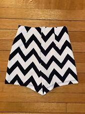 Charlotte Russe High Waisted Black White Chevron Shorts XS