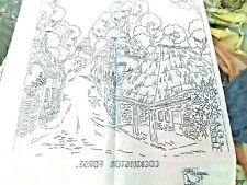 Vintage iron on embroidery transfer-Cockington Forge Village scene Robin 8278