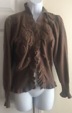 Women's KENZO Made In Italy Lambs Wool Brown Cardigan with Rosettes Size M