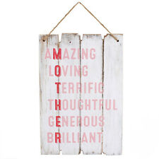 Lovely Novelty Wooden Sign Wall Hanging Plaque Mums Gifts With Hessian String