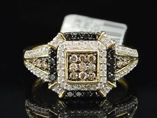 10K LADIES YELLOW GOLD CHAMPAGNE BROWN & BLACK DIAMOND ENGAGEMENT WEDDING RING